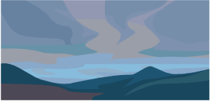 cartoon+blue+landscape
