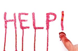 Help message written in blood