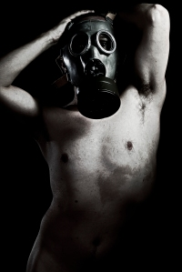 Fair, Panic, grunge portrait man in gas mask