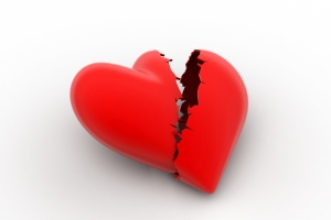 Broken heart sign, loss of love concept